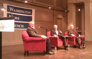 Mike Fancher, Tom Rosenstiel and Bill Kovach discuss citizen journalism at Seattle's Town Hall