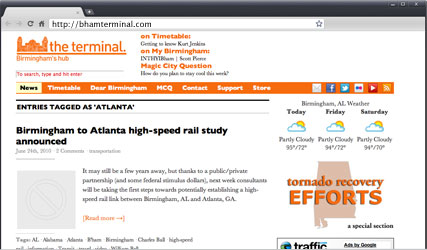 Hyperlocal site the Terminal, Birmingham, AL.