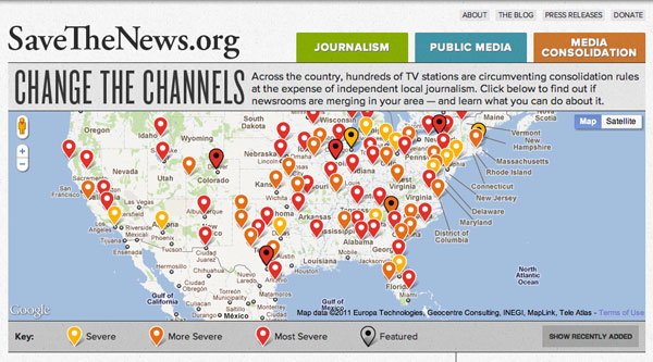Media Consolidation Map from Free Press's Change the Channels
