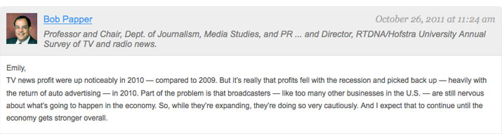 Bob Papper comment in Value of TV News forum