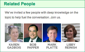 Related people Value of TV News forum Karen Gadbois Bob Papper Mark Platte Libby Reinish