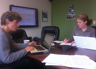 Emily Harris & Tricia Waineo plan the Election 2012 Forum